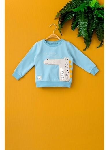 Cigit Timsah Nakışlı Sweatshirt Mavi
